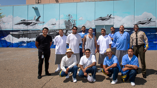 Mural painters at Avenal State Prison - 2018 May